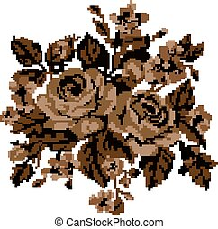 Sepia. Roses and cornflowers - Bouquet of flowers (roses and...