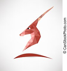 antelope - Head of mountain antelope. Vector polygon label .