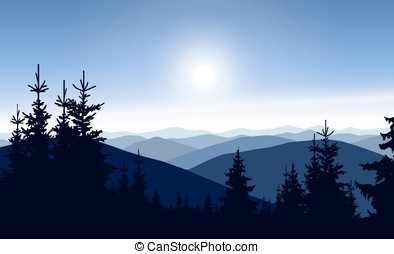 coniferous trees - Silhouette of mountains and coniferous...
