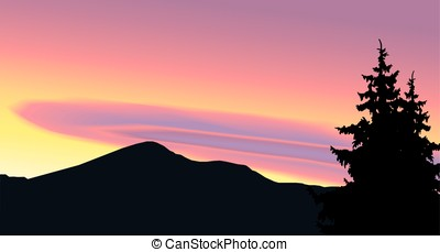 Landscape of woodland and mountains. Colorful sky.