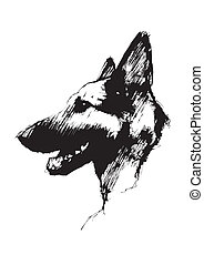 alsaciano, cão, poste