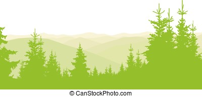 hills and coniferous wood - Horizontal banner of hills and...
