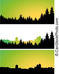 city and coniferous forest. - Three panoramic banners of...