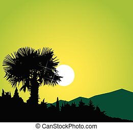 Silhouette of palm. Green shades.