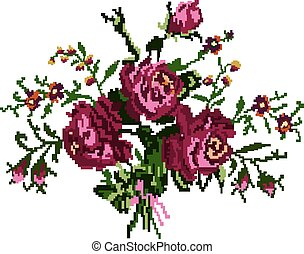 roses and cornflowers - Color bouquet of flowers (roses and...