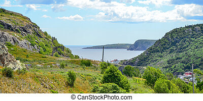 View to Cape Spear, Newfoundland. - View of Cape Spear, road...