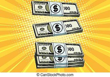 Packs of dollars money