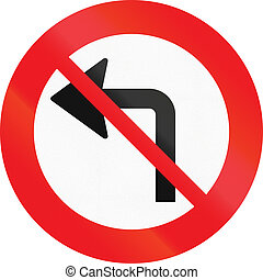 Road sign used in Denmark - No left turn