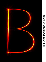 red light painting letter B on black background