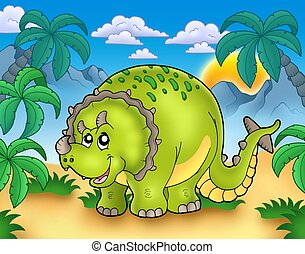 Cartoon triceratops in landscape - color illustration.