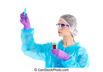 A lot od tubes in a womans hands - On a white background the...