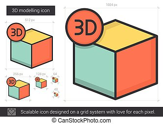 Three D modelling line icon - Three D modelling vector line...