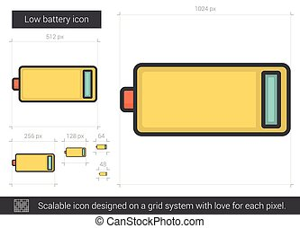 Low battery line icon - Low battery vector line icon...