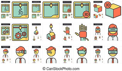 Virtual reality and 3D technology line icon set. - Virtual...