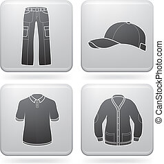 Mans Clothing theme icons set covering all mans may dress...