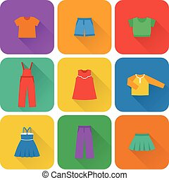 Vector flat icons of baby clothes. - Icon set children's...