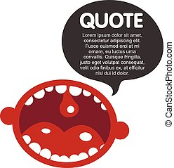 Cartoon characters with quote bubble - The human mouth...