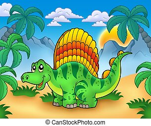 Small dinosaur in landscape - color illustration.