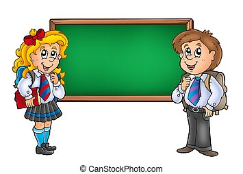 Children with chalkboard 2 - color illustration