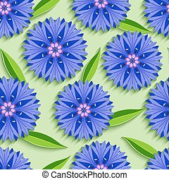 Summer seamless pattern with 3d cornflowers and leaves -...