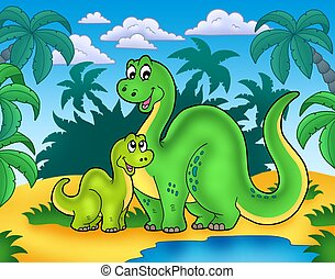 Dinosaur family in landscape - color illustration.
