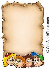 Parchment with various kids faces