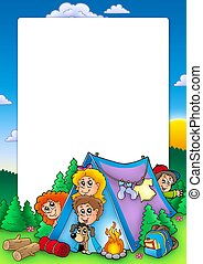 Frame with group of camping kids - color illustration