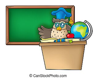 Owl teacher behind desk - color illustration.