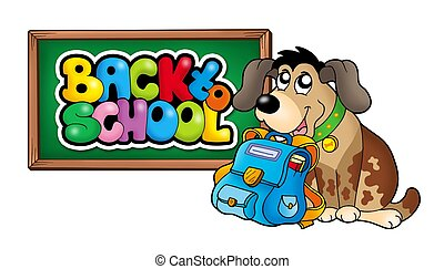 Dog with school bag and chalkboard - color illustration.