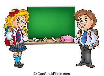 Girl and boy with old chalkboard - color illustration.
