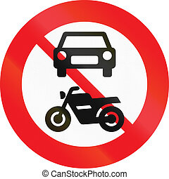 Road sign used in Denmark - No motor-driven vehicles.