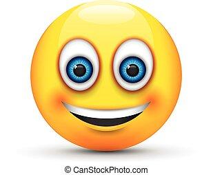 smiling emoji big realistic blue eyes