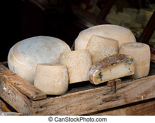 Natural mountain cheeses made in traditional way in European...