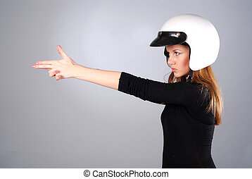 woman in white helmet - young beautiful woman in black...