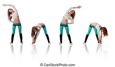 sports women - Beautiful young sports women doing gymnastics...