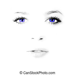 Beauty woman face - Face of young beauty woman in high key...