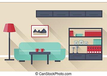 Living room Interior. Vector.