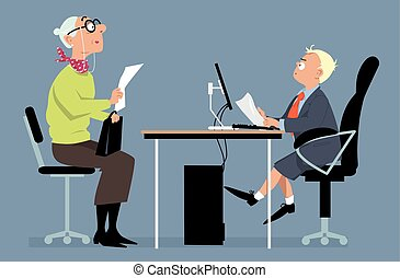 Job interview with a young boss - Elderly woman having a job...