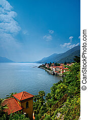 Lake Maggiore - Aerial view of Lake Maggiore with homes on...