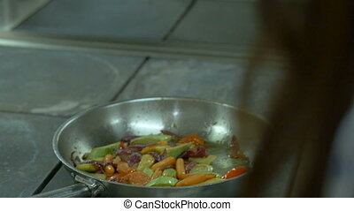 Close up mixed vegetable stir fry dish