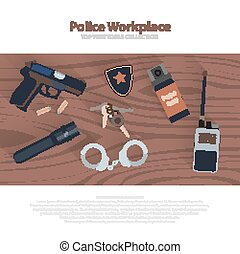 Police workspace icons, policeman working cabinet with...
