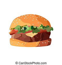 Home made hamburger on isolated white background. Vector...