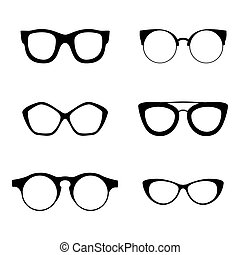 Retro collection of 6 various glasses. Sunglasses black...