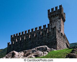 Sasso Corbaro castle. - Exterior of Sasso Corbaro, one of...