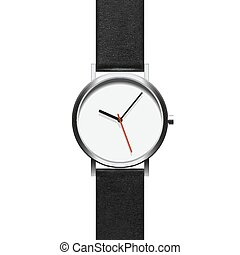 Black analog wristwatch in a steel frame with arrows on a white background. The object isolated to copy pasting. Vector EPS