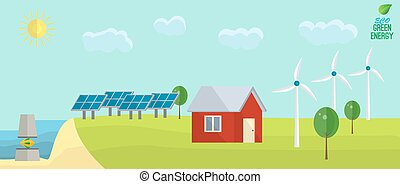 Green energy usage concept: solar, wind, tide. Non urban landscape in flat style.