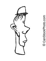 sombrero, caricatura, Ilustración, hombre