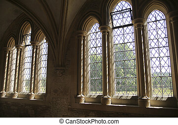 Windows in medieval cloister - Gothic windows in the...