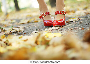 foliage and red shoes - womans legs in a red patent-leather...