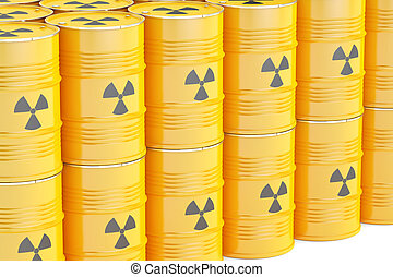barrels with radioactive waste, 3D rendering